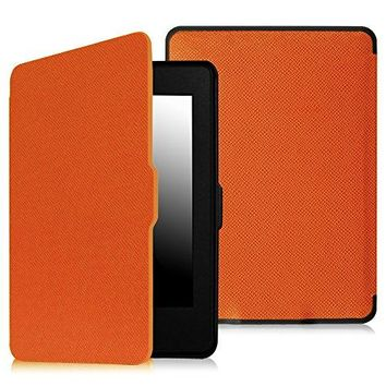 Fintie SmartShell Case for Kindle Paperwhite - The Thinnest and Lightest PU Leather Cover Auto Sleep / Wake for All-New Amazon Kindle Paperwhite (Fits All 2012, 2013, 2015 and 2016 Versions), Orange