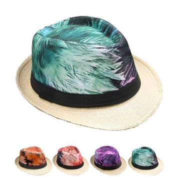 Feather Print Fedora Hat - CASE OF 144
