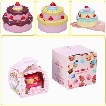 Vlampo Squishying Layer Birthday Cake Slow Rising O riginal Packaging Box Gift Collection Decor Toy For Children Kids