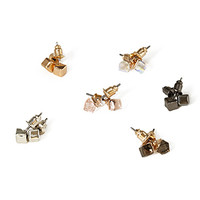 FOREVER 21 Cube Stud Set Peach/Clear One