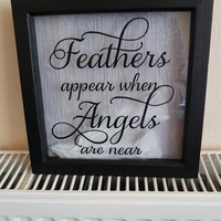 Handmade bereavement picture feathers appear when angels are near box frame lost one with sympthy
