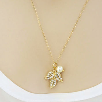 Leaf Necklace Gold, Crystal Pendant with a Pearl Charm, 14k Gold Filled Delicate Thin Chain Wedding Necklace, Bridesmaids Gift, just1gold