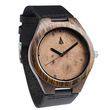 Ebony Watch // Walnut Burl Plain