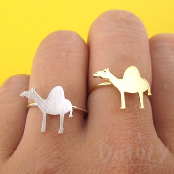 Arabian Camel Silhouette Shaped Adjustable Animal Ring in Silver or Gold