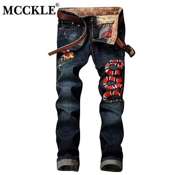 MCCKLE Fashion Snake Men's Jogger Jeans Pant Embroidery Slim Fit Washed Denim Pants Male Flower Patchwork Jean Trousers