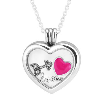 Large Floating Locket Heart Pendant and Necklace 100% 925 Sterling Silver Fine Jewelry Free Shipping