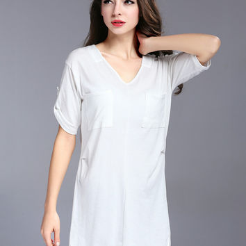 V-neck Half Sleeve Tunic T-Shirt