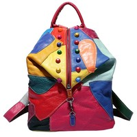 MapleClan Colorful Studded Patchwork Genuine Cow Leather Backpack Colorful