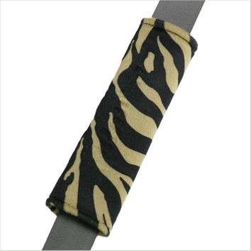 Zebra Stripe Tan Black Seat Belt Pad