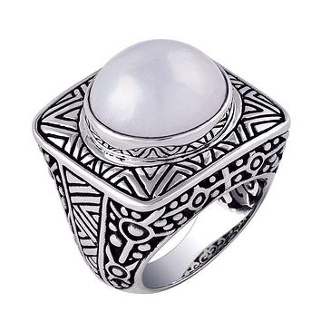 """AR-1023-PE-7"""" Sterling Silver Beautiful Simple Designer Ring With Mabe Pearl"""
