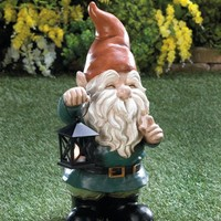 Light-Up Lantern Garden Gnome Lawn Statue
