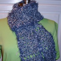 Blue Crochet Scarf, Bluebird Bluejay Stormy Gray, Soft Freeform Feathery