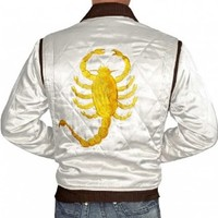Drive Slimfit White Satin Drive Racing Jacket For Mens (L)