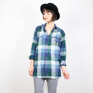 Vintage 90s Shirt Grunge Shirt Plaid Flannel Shirt Mickey Mouse T Shirt Embroidered Blue Green Buffalo Plaid Shirt Disney Lumberjack L Large