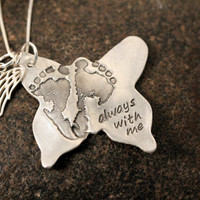 Your baby or child's ACTUAL footprints or hand prints on a silver butterfly necklace Perfect for angel babies