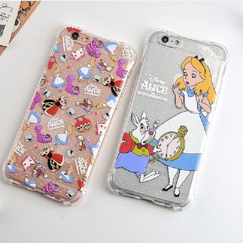 Shockproof Soft TPU Phone Cases for Iphone 6 6s Plus Transparent Cartoon Alice in Wonderland Phone Case Cover for Iphone 6 Plus