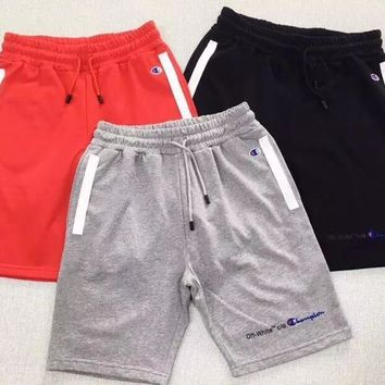 """""""OFF-WHITE x Champion"""" Unisex Casual Classic Multicolor  Letter Embroidery Leisure Pants Shorts Couple  Sweatpants"""