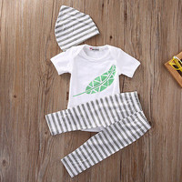 2016 Newborn Infant Baby Boy Girls Outfit Romper Playsuit Top T-shirt Legging Clothes