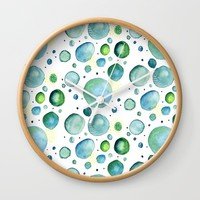 Bubbles Watercolor Wall Clock by Doucette Designs