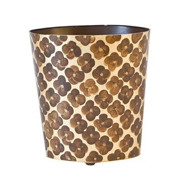 Worlds Away Oval Wastebasket Brown and Gold