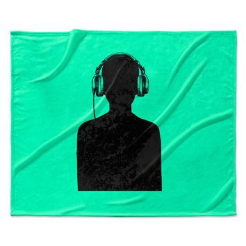 "BarmalisiRTB ""Black Music"" Turquoise Fleece Throw Blanket"