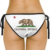 Cali Swim Republic: Custom American Apparel Nylon Tricot Side-Tie Bikini Swimsuit Bottom - Customized Girl