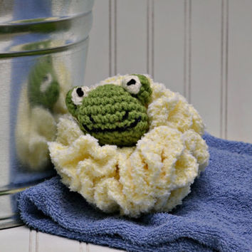 Kids' Crochet Bath Pouf - Cuddly Frog