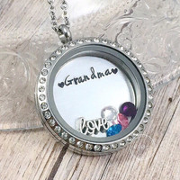 Grandma Locket, Personalized Grandma Necklace, Grandkids Necklace, Birthstone Jewelry, Nana Locket, Mimi, Grammy, Christmas Gift for Grandma