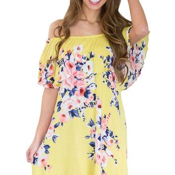 Yellow Ruffle Off Shoulder Floral Boho Dress