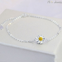 925 Sterling Silver Women Anklets Jewelry Daisy Flower Anklets 925 Sterling Silver Jewelry For Gift