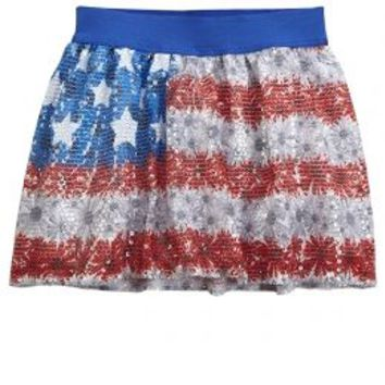 Sequin Floral Flag Skirt | Girls Skirts Clearance Bottoms | Shop Justice