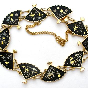 Vintage Damascene Gold Plated Fan Bracelet