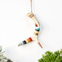 Copper Leaf and Hand Felted Real Antler- Leather Hanging Strap Included