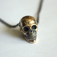 Bronze 3D Human Skull Necklace by mrd74 on Etsy