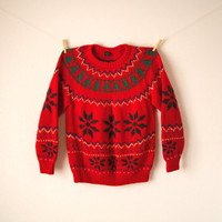 Vintage. Red Fair Isle Sweater Tunic. Mini Dress. Pullover. Oversized. Festive. Snowflake. Wool. Relaxed. Winter. Novelty. Small Medium XL