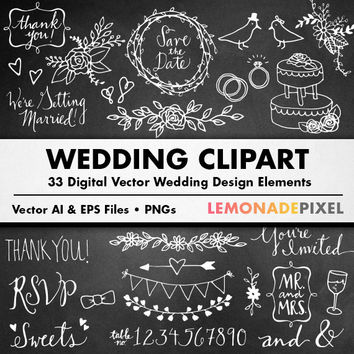 Chalkboard Wedding Clipart - Hand drawn clipart, doodle clipart, floral clip art, chalkboard flowers, marriage clipart, love clipart, hearts