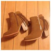Must Have! Fringe Tan Bootie Boots with Heel