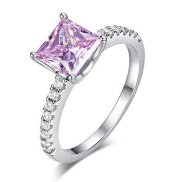1.5 Ct Fancy Pink Simulated Diamond 925 Sterling Silver Wedding Ring Promise Anniversary