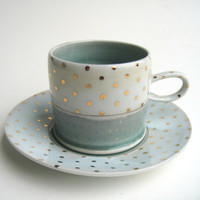 READY TO SHIP Gold Polka Dot Cloud Cup and Saucer Set