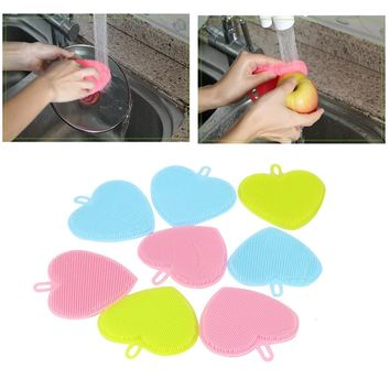 3 Colors Fashion Heart Shape Environmentally Friendly Silicone Multifunction Cleaning Brush Bowl Dish Kitchen Cleaning@yYL-CX