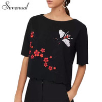 European fashion embroidery t-shirts for women flowers summer crop top 2017 scallop hem cuff black
