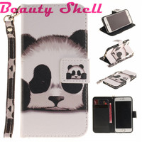 Fashion PU Leather Bag Flower Cartoon Color Pattern wallet Card Style Cases For iphone 6 6S 5S Se For iphone 7 Fresh Style Cover