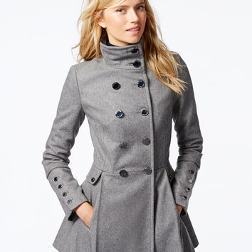 Calvin Klein Stand-Collar Pleated Peacoat