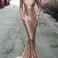 Gold Long Sleeve Backless Sequined Mermaid Dress