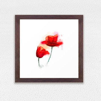 Framed Art Print, Red Poppies print, watercolor flower home decor, GICLEE PRINT in frame, modern red flower wall art decoration