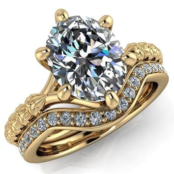 Betty Oval Moissanite Half Eternity Floral 6 Prong Solitaire Engagement Ring