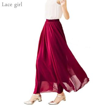 Women's Elegant High Waist Chiffon Skirt Elastic Waist Casual Long Maxi Skirts Saias 80/90/100cm 22 Color Summer New