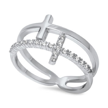 925 Sterling Silver CZ Simulated Diamond Double Sideway Cross Designer Ring 12MM