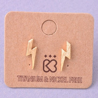 Tiny Lightning Bolt Stud Earrings - Gold or Silver