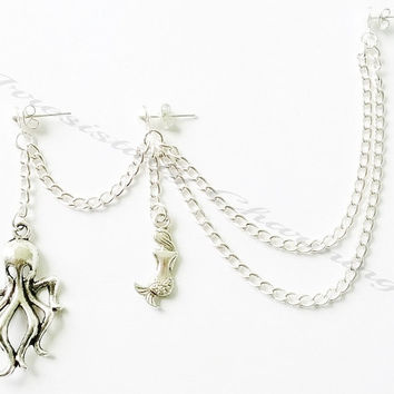 Antique silver Nautical Octopus and mermaid  triple piercing cartilage or ear cuff earring